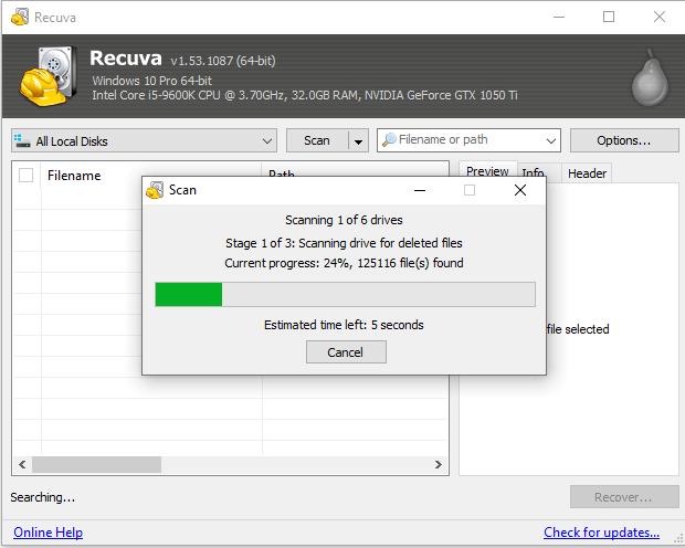 استرجاع الملفات المحذوفة Recuva