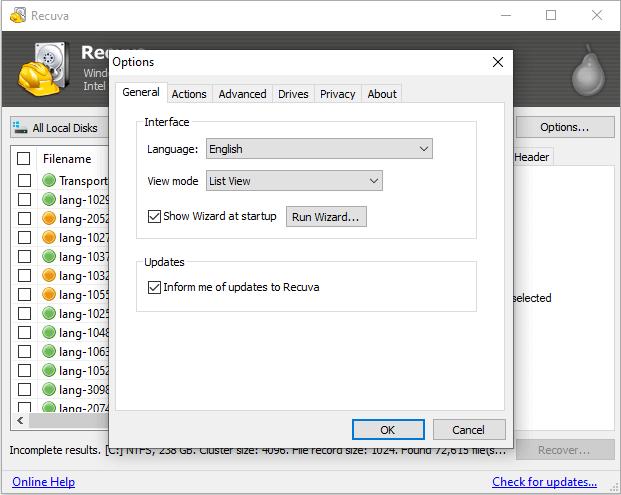 برنامج استرجاع الملفات المحذوفة Recuva