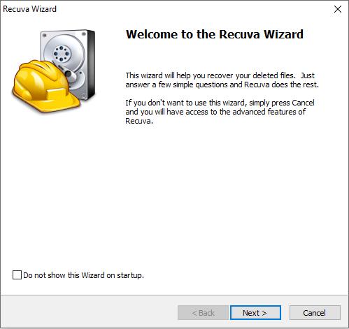 برنامج استعادة الملفات المحذوفة Recuva